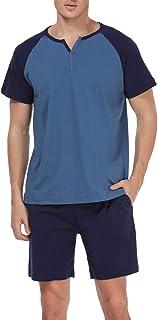 Abollria Mens Pajama Set Short Sleeved Cotton PJ Set/Nightwear/Sleepwear/Loungewear for Summer