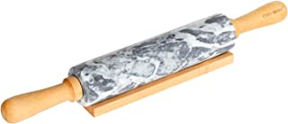CHEFMADE 18-Inch Marble Rolling Pin with Wooden Handles and Cradle, Non-stick FDA Approved (Gray and White)