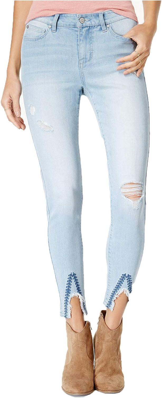 CelebrityPink Junior's Embroidered SlitHem Skinny Jeans