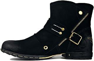 Botas Chukka Vintage de Cuero Genuino para Hombre Botines de Piel de Ante Western Cowboy Botas de Motociclista Biker con C...