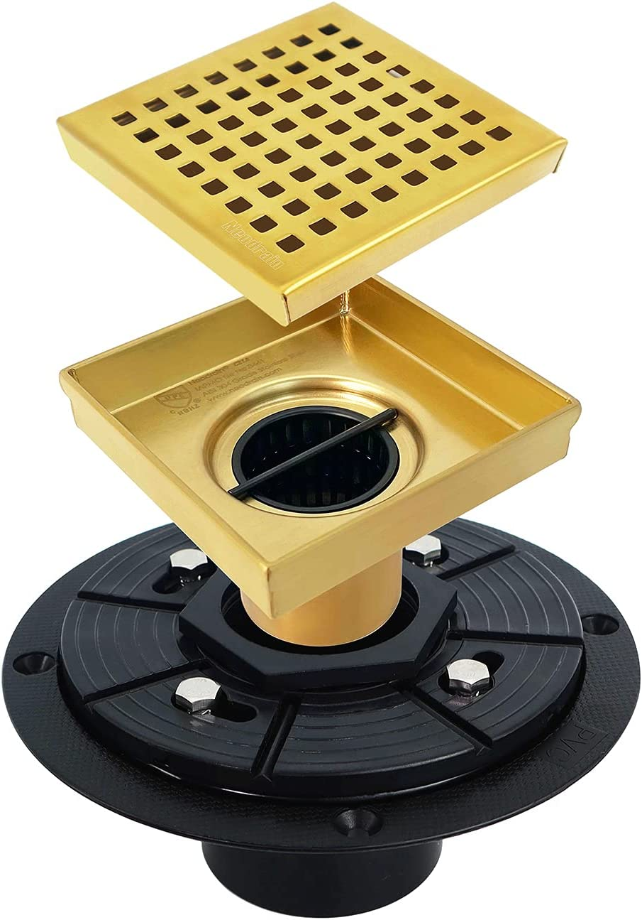 Neodrain 発売モデル 4 in Square Shower with Golden Quadrato 売り出し Drain Removable
