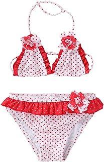9ac965f112 Maillots de Bain 2 Pièces Enfants Fille Broderie Gland Bikinis Âge 2-16 Ans