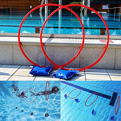 Sport-Thieme Tauch-Reifen-Spiel | 4er Set | Wasserspielzeug | Tauch-Reifen für Pool & Schwimmbad | spielerisch tauchen Lernen | rostfrei | höhenverstellbar | Größe Reifen: ø 70 cm