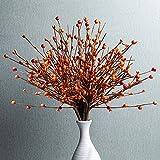 6PCS Artificial Pip Berry Stems,Orange Berry Stems Berry Spray Picks for Fall Winter Christmas Holiday and Home Decor(Orange)
