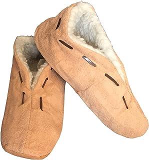 HomeOfSocks Chaussons 100 % daim pour homme et femme - Mocassins - Taille 25-50 - Beige naturel - Recommandation : command...