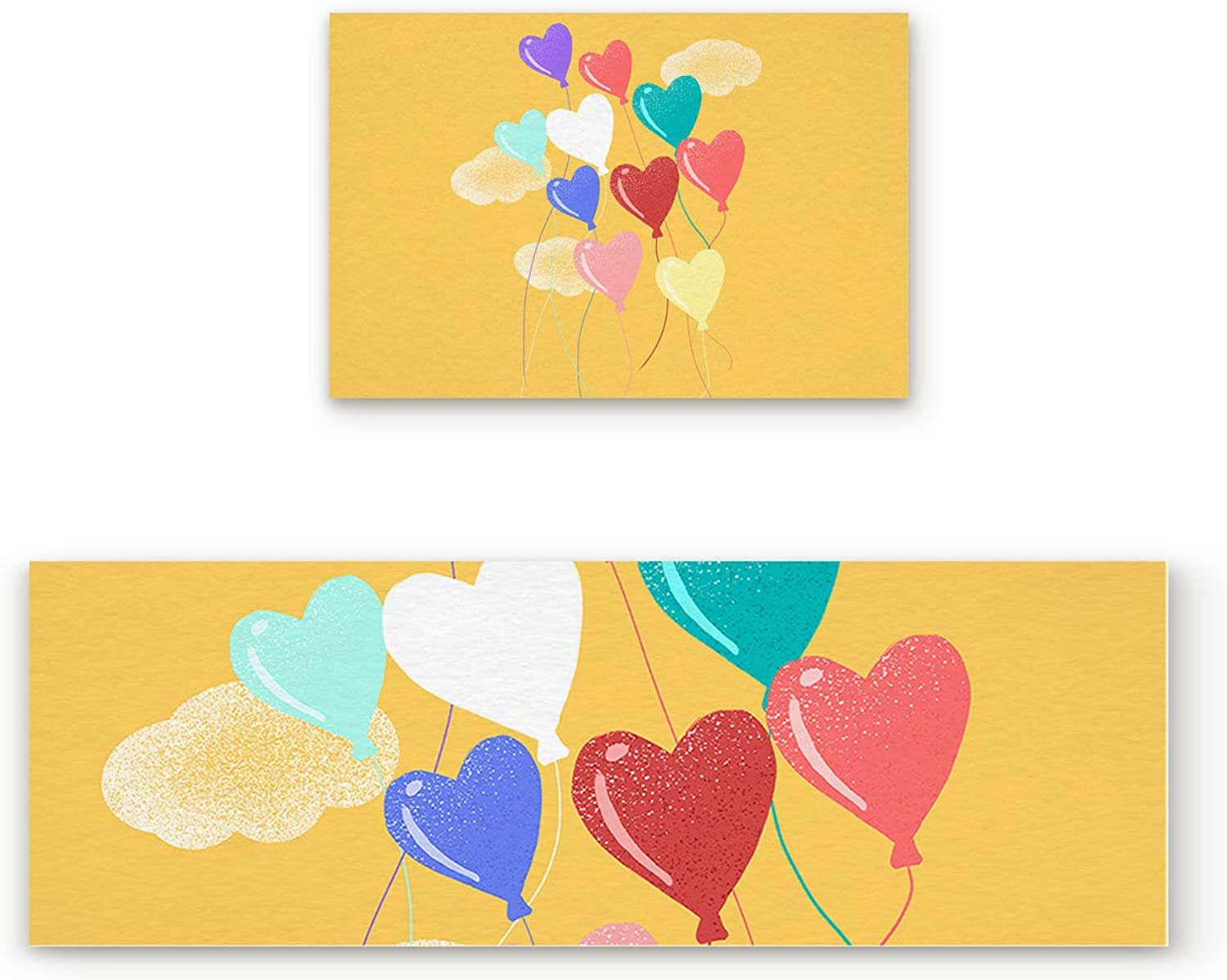 Aomike 2 Piece Non-Slip Kitchen Mat Rubber Backing Doormat colorful Romantic Hearts Balloons Runner Rug Set, Hallway Living Room Balcony Bathroom Carpet Sets (19.7  x 31.5 +19.7  x 47.2 )