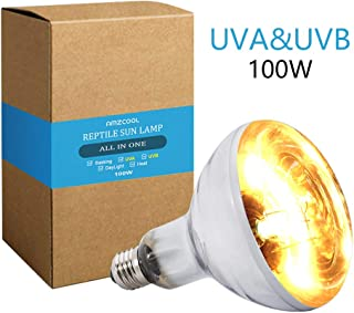 AMZCOOL UVB and UVA Reptile Heat Lamp Bulb Truly Sun-Like Bright Heat for Reptiles, Amphibian and Birds