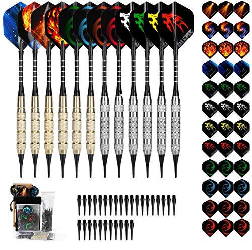 Awroutdoor Dartpfeile mit kunststoffspitze für elektronische dartscheibe 12 Stück Soft Darts Pfeile Set,18 Gramm Profi Softdarts dartpfeil,Dart,15 Aluminium Schaft