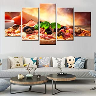 5 canvas prints 5 pieces tropical beach palm trees sunset nature landscape canvas painting HD print poster living room pic...