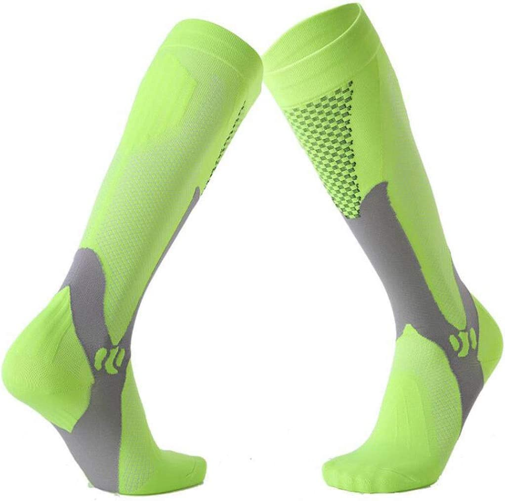 Color : Green, Size : S//M HCZ Long Compression Socks 3 Pair Male And Female Marathon Outdoor Sports Socks Adult Running Compression Socks