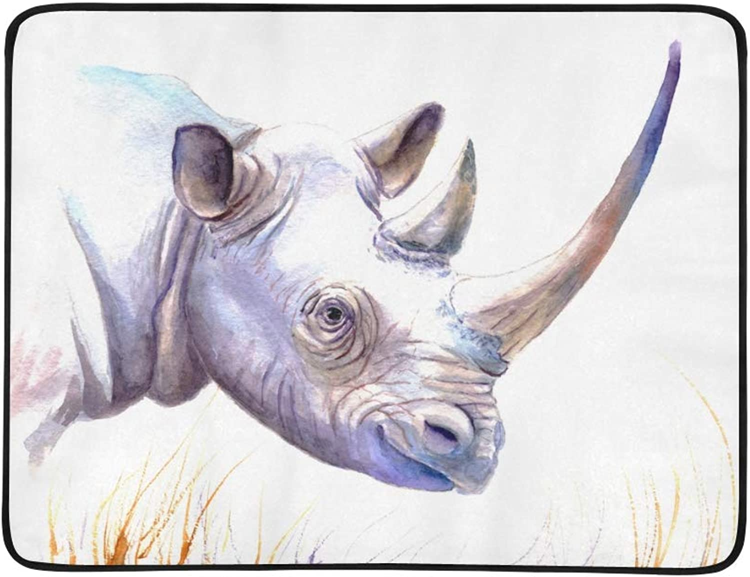 Rhinoceros Grazing On The Grassland Pattern Portable and Foldable Blanket Mat 60x78 Inch Handy Mat for Camping Picnic Beach Indoor Outdoor Travel