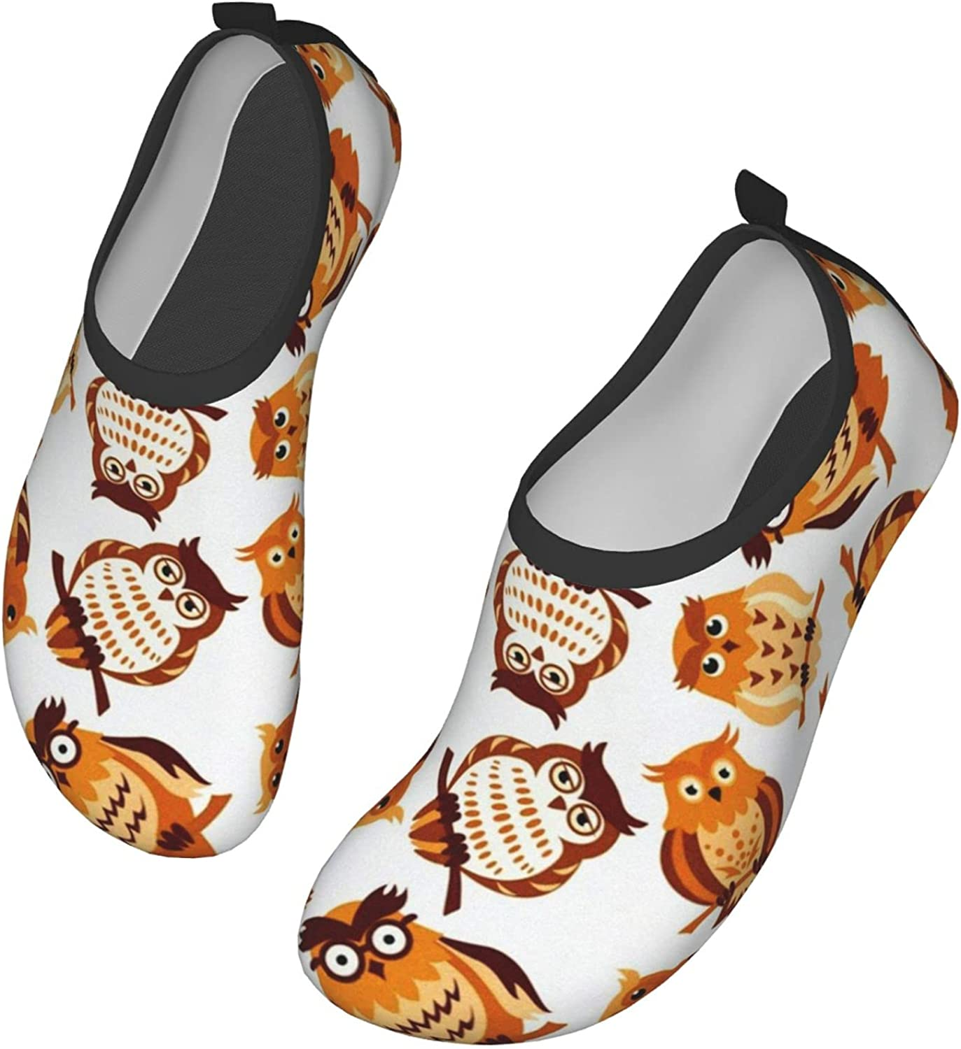 Water Shoes Women's Men's Brown Owls On Branches Pattern Barefoo