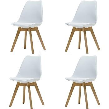 Comfortableplus Pack de 4 sillas de Comedor/Oficina con Madera de Haya Piernas para Comedor/Sala de Estar/Café/Restaurante, Blanco: Amazon.es: Hogar