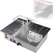 Mini sierra de mesa eléctrica con regulación de velocidad, mini sierra de mesa LED con diseño de cubierta de polvo y torno, hecho a mano, se puede abrir con ventilador.