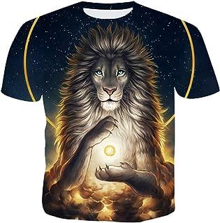 SLTX Men's Cats 3D Printing Short Sleeve Fashion T Shirt,Big Cat,Lion,Leopard