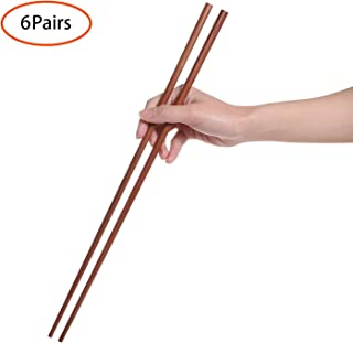 Donxote Cooking Chopsticks, Extra Long Wooden Kitchen Frying Chopstick 16.5 Inches - Brown(6-Pairs)