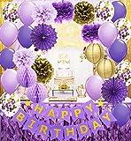Decoración de fiesta de cumpleaños de color morado dorado con confeti y globos de confeti de color morado y dorado con lunares para mujeres y niñas, decoración de cumpleaños púrpura y dorado