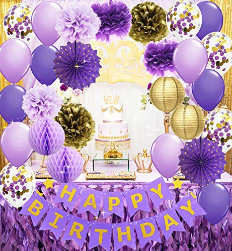 Purple Gold Birthday Decorations for Her Happy Birthday Banner Purple Gold Confetti Balloons Polka Dot Paper Fans for Women/Girl Purple Birthday Decorations Purple Gold Birthday Photo Backdrop
