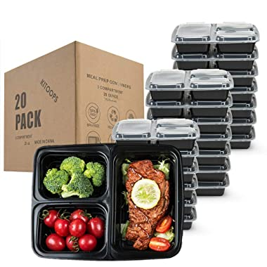 Meal Prep Containers 3 Compartment [20 Pack] 28 oz, Lunch Containers Portion Control Containers, Food Storage Bento Box with Lids | BPA Free | Stackable | Reusable, Microwave/Dishwasher/Freezer Safe