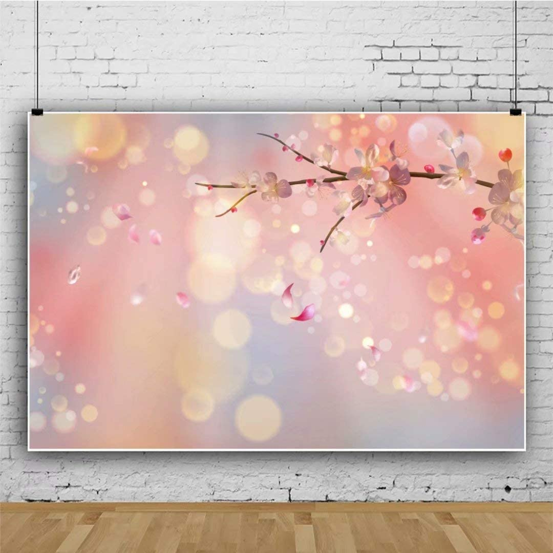DASHAN 5x3ft Polyester Photography Backdrop Spring Full Bloom Cherry Blossom Trees Garden Flower Petals Path Backdrops for Photo Shoots Lovers Party Adult Kids Photo Background Studio Props