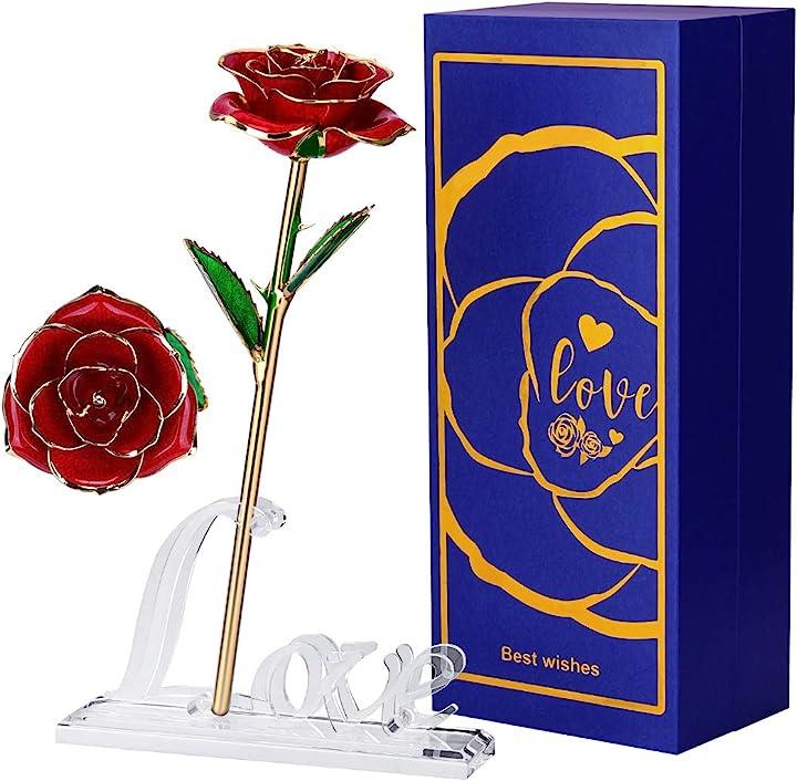 San valentino - efanty 24k rosa placcato oro, rosa eterna stabilizzata fiore artificiale con supporto B08PPJ9LWY