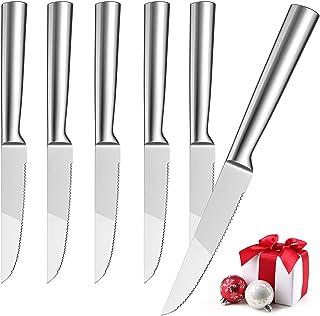 Hom Geek Couteaux à Steak Lot de 6, Spécial Couteau de Table en Acier Inoxydable 304, Premium Couverts de Cuisine avec Lam...