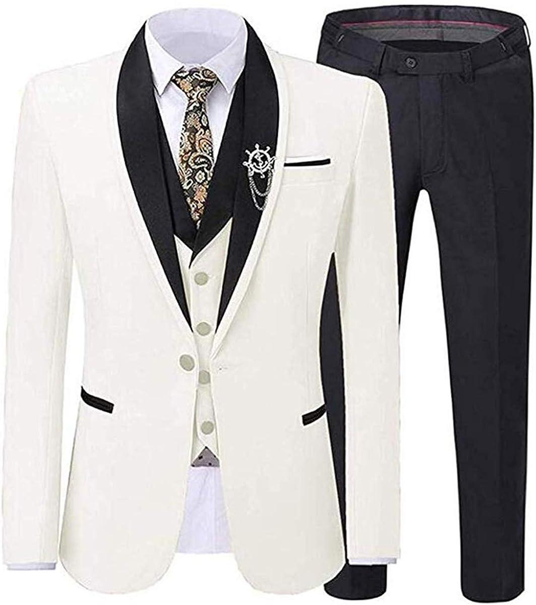Wemaliyzd Men's 3 Piece Business Suit 1 Button Jacket Single Breated Vest Pants