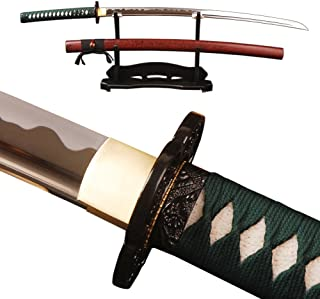 Shijian Japanese Samurai Katana Sword Full Tang High Carbon Steel Hand Forged Blade Real Sharp Edge Functional Knife Can Customize