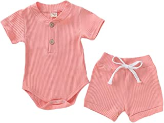 Weixinbuy Toddler Baby Boys Girls Short Sleeve Cotton Romper Bodysuit with Elastic Waist Shorts 2 Pcs Clothes Set