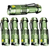 6 Pack,Pocketman 7W 300LM SK-68 3 Modes Mini Light Green Q5 LED Tactical Flashlight