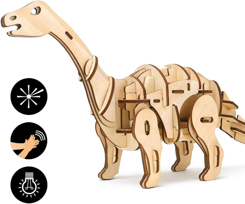 EEKUY Remote Dinosaurier Spielzeug, 3D Holz Puzzle mit Sound Control Dinosaurier Modell Kinder Lernspielzeug 15,7  4,3  8,3 ''