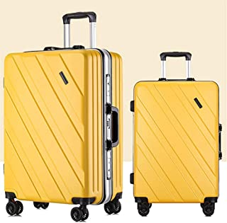"""2019 Fashion PC Large Capacity Trolley Box High Density Password Lock Boarding Chassis Silent Pulley Frosted Surface Suitcase (Yellow,24"""")"""