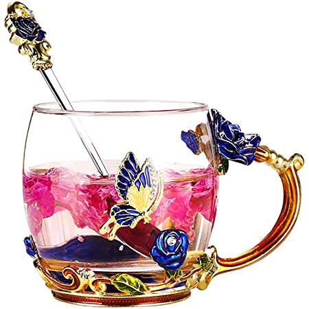 Details about  /Glass Tea Cup 12oz Lead-Free Blue Rose Flower Hand Made Enamel Butterfly