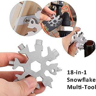 Vaughenda 18-in-1 Stainless Steel Multitools Snowflake Keychain Tool, Portable Multi-Tool Card Combination Multifunction EDC Keychain/Bottle Opener/Screwdriver /Pendant/Men's Gift