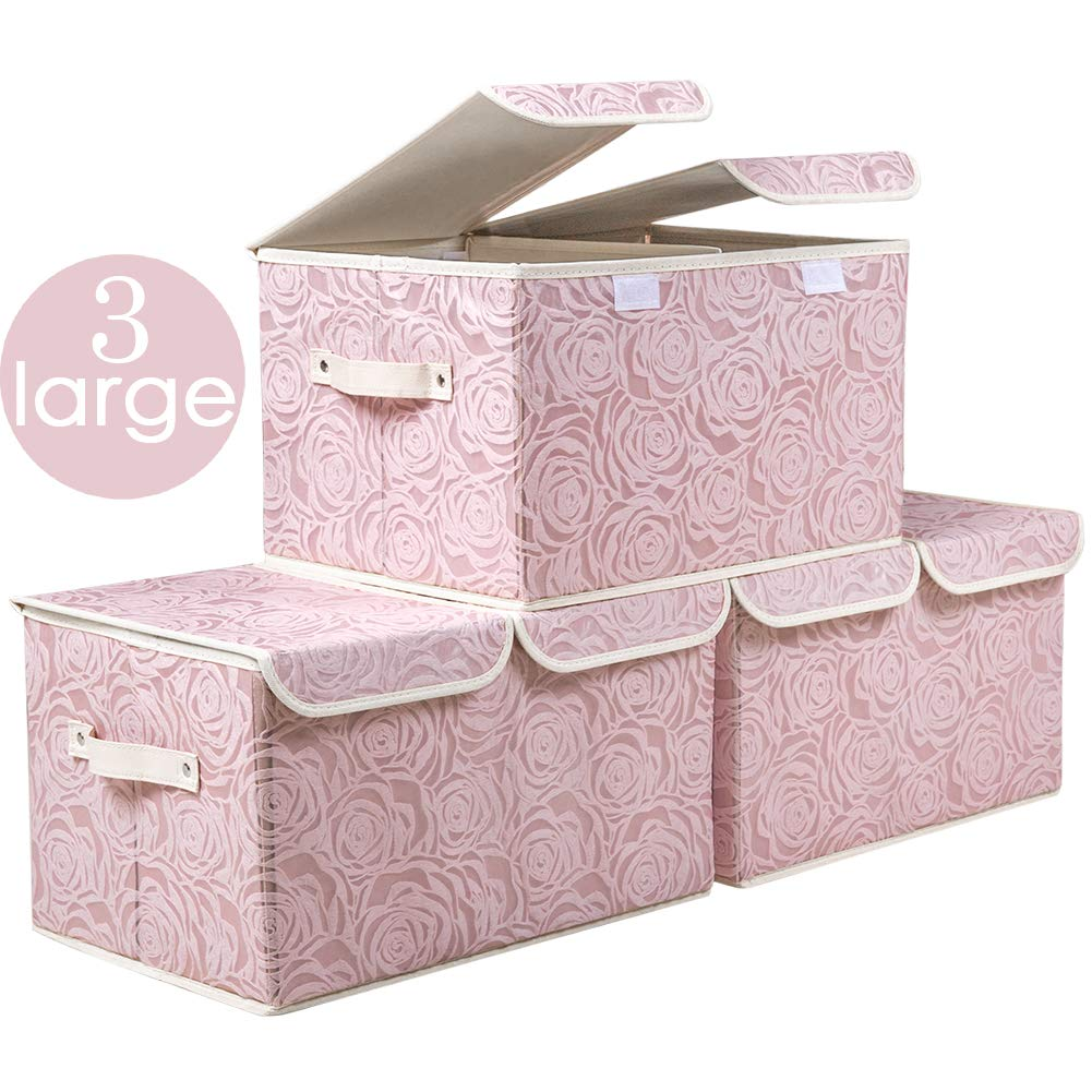 Prandom Large Stackable Storage Bins with Lids Fabric Decorative Storage  Box Cubes Organizer Containers Baskets with Cover Handles Divider for  Bedroom