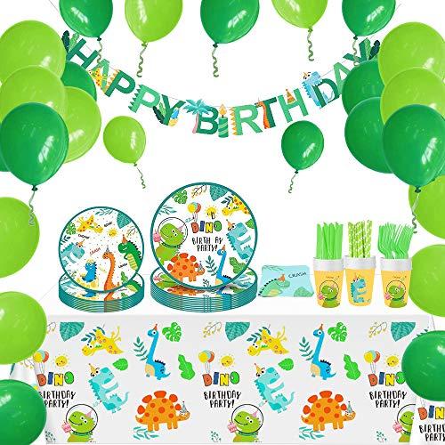 specool Jungle Dinosaur Globos Cumpleaños para 16 Invitados, Incluye Platos, Tazas, Servilletas,...