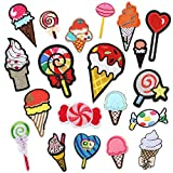 Choco Mocha 20PCS Ice Cream Iron On Patch for Clothing Candy Iron On Patches for Girls Small Embroidery Decorative Sewing Appliques for Kids Pants Jeans Clothes, Ice Cream Cone Candy…