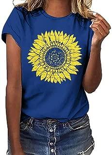 Sunflower T-Shirt Women Cute Funny Graphic Tee Teen Girls Casual Short Sleeve Tunic Shirt Tops Blouse