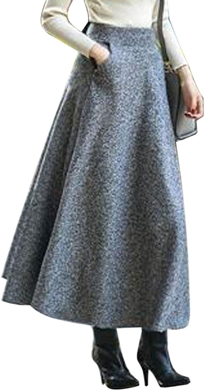 CHARLES RICHARDS CR Women's High Waist Aline Flared Long Skirt Winter Fall Midi Skirt
