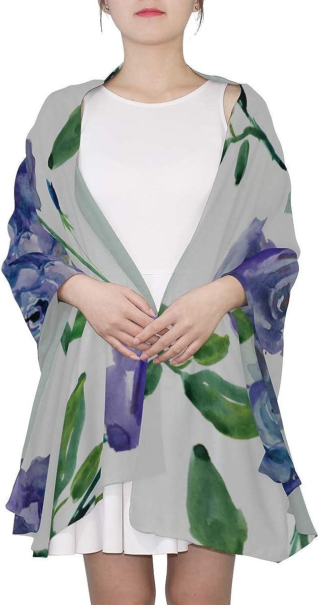 Summer Scarfs For Women Blue Rose Elegant Beauty Flowers Lightweight Fashion Scarfs For Women Womans Shawl Wrap Lightweight Print Scarves Colorful Scarf For Women Men Lightweight Scarf