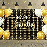 Happy Birthday Party Decorations KIT- Large Sized Happy Birthday Backdrop with 8 Modes LED Twinkle String Lights for Birthday Parties at Night Photo Prop Sparkling Decorations Indoor Outdoor