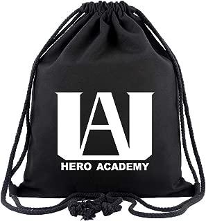 BNHA U.A High School Logo Canvas Drawstring Backpack String Sport Gym Bag Black Unisex