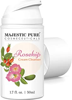 Rosehip Facial Cleanser by Majestic Pure - Hydrating Cream Face Cleanser for Youthful Radiant Looking Skin - Dry to Normal Skin - 50ml