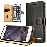 iPhone 6 Case / Cover, Labato® Vintage Leather Flip Book Folio Case Cover Wallet Pouch Luxury Phone Case for iPhone 6 4.7 inch with Stand Feature, Magnetic Closure, Card Slots & Cash Compartment - Multifuctional iPhone 6 Cover *Xmas Gift* Black Lbt-IP6-07Z10