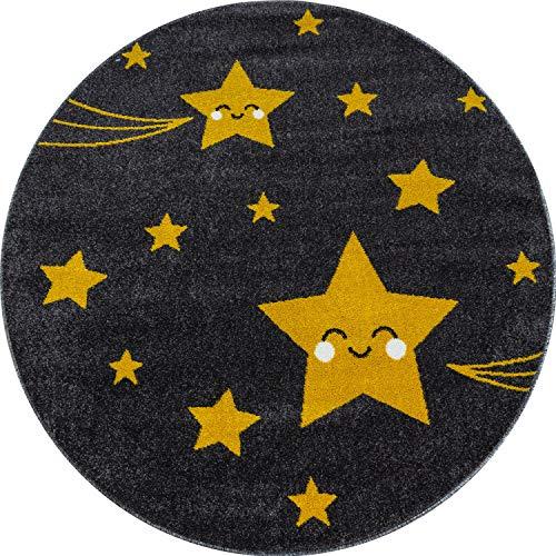 Alfombra para habitación infantil BRAVICH azul/rosa/gris con diseño de colores pastel supersuave y gruesa antialérgica, 100% polipropileno., Estrellas Amarillas, 160cm Circle (5ft3')