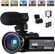 Video Camera 4K Camcorder Ultra HD 48MP WiFi Night Vision Digital Vlogging Cameras Recorder with Microphone for YouTube 3.0'' Touch Screen 16X Digital Zoom, Wide Angle Lens, LED Light and 2 Batteries