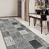 Teppichläufer Monsano   Patchwork Muster im Vintage Look   viele Größen   rutschfester Teppich Läufer für Flur, Küche, Schlafzimmer   Niederflor Flurläufer   anthrazit Breite 80 cm x Länge 300 cm - 6