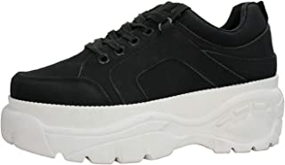 LUCKY STEP Women Platform White Black Chunky Dad Colorblock Lace-Up Closed Toe Fashion Sneaker Athletic Sports Walking Shoes Trainers