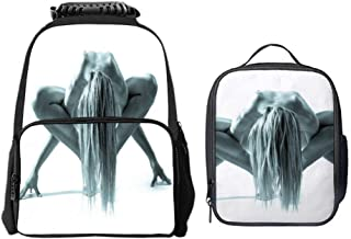 SARA NELL School Backpack Studio Shot Of Beautiful Naked Woman In Gym Pose Backpack For Boys Girls Elementary School Bookbags Kids Custom School Bag with Lunch Tote Bag