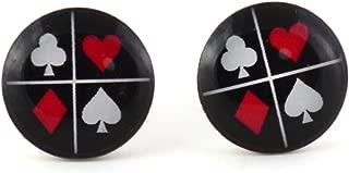 Spade Heart Club Diamond Stud Earrings Silver Tone EK17 Card Suits Black Red Posts Fashion Jewelry